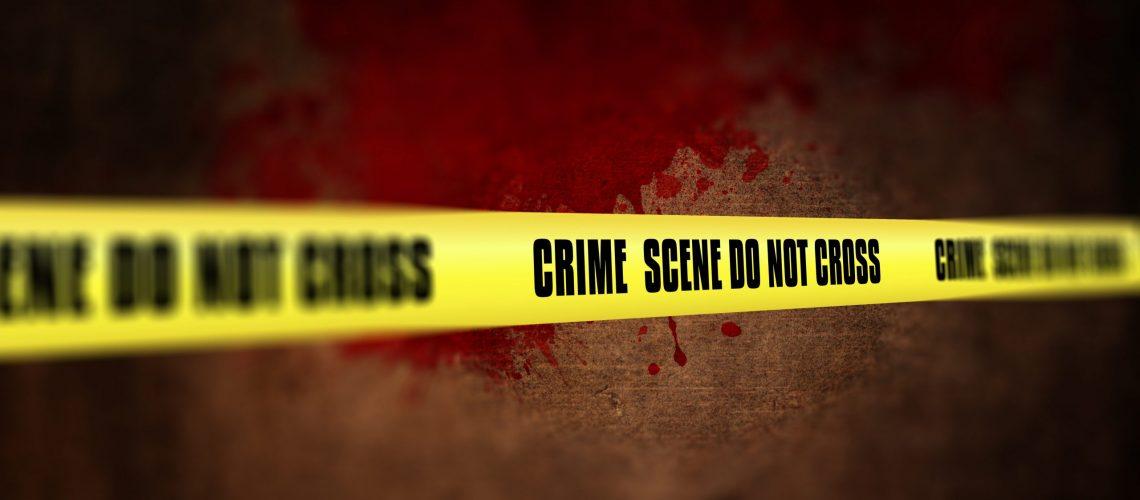 3D render of a crime scene tape against defocussed background